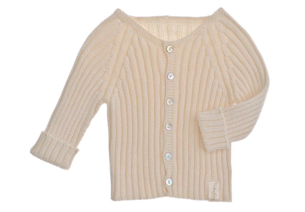 Golfino a coste NaturaPura / Knitted rib jacket with buttons - HOPLA' PARMA Baby Collections