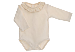 Body bimba NaturaPura /  Long sleeved bodysuit with ruffled collar - HOPLA' PARMA Baby Collections
