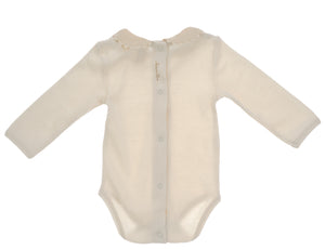 Body NaturaPura/ Long sleeved bodysuit with ruffled collar - HOPLA' PARMA Baby Collections