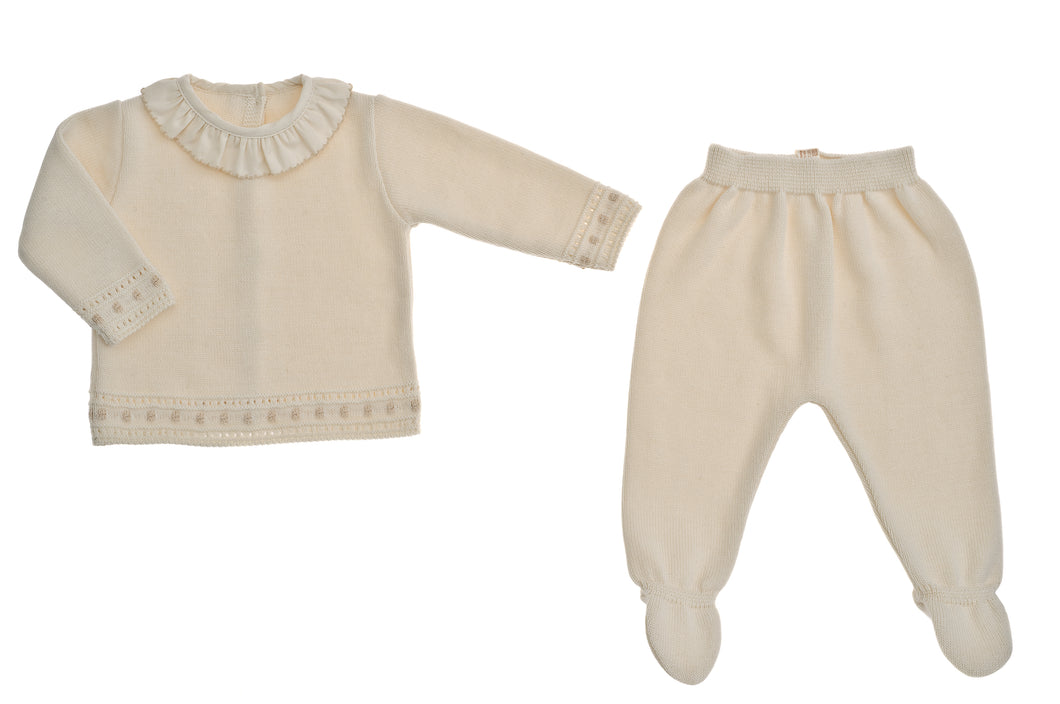 Completino nascita in maglia NaturaPura/ Knitted shirt with voile collar and pants set - HOPLA' PARMA Baby Collections