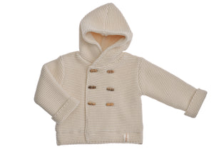 Cappottino Bart NaturaPura/  Knitted hooded jacket with wooden buttons - HOPLA' PARMA Baby Collections