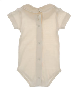 Body NaturaPura/ Bodysuit with cross stitch collar - HOPLA' PARMA Baby Collections
