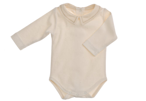 Body bimbo NaturaPura / Bodysuit with cross stitch collar - HOPLA' PARMA Baby Collections