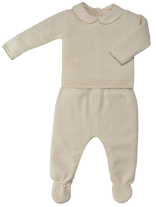 Completino di cotone NaturaPura/Knitted sweter and trousers set - HOPLA' PARMA Baby Collections