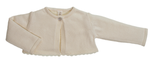 Golfino scaldacuore NaturaPura /Knitted bolero jacket with lace trimming - HOPLA' PARMA Baby Collections