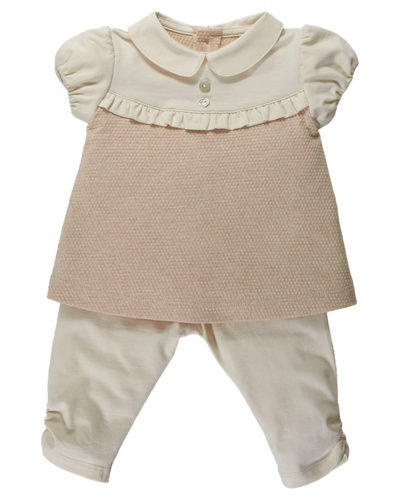 Completino bimba NaturaPura/Diamond jersey and percale tunic and leggings set - HOPLA' PARMA Baby Collections