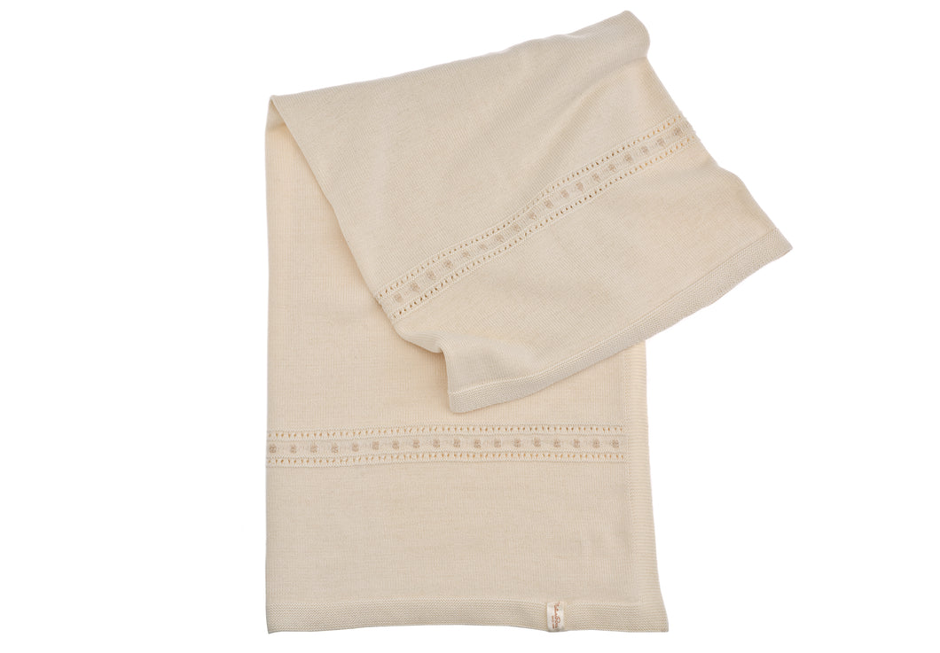 Copertina  cotone NaturaPura / Knitted throw with beige edging - HOPLA' PARMA Baby Collections