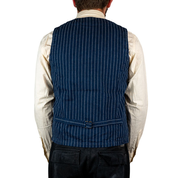 Urban Vest Cotton Striped Blue