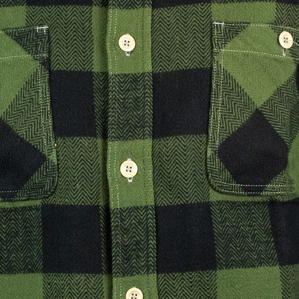 Herringbone Blockcheck Shirt green