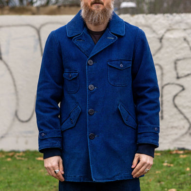 Sashiko Military Pea Coat Indigo