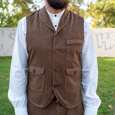 Cotton Vest 416 Brown Striped