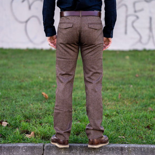 Wool Pants 101 Herringbone Tobacco