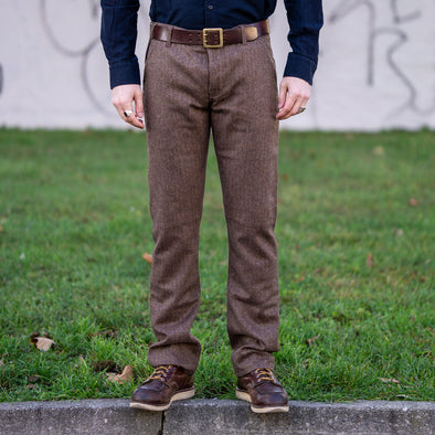 Wool Pants 101 Herringbone Brown