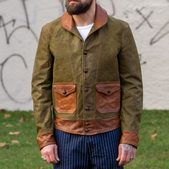 Jacket Old Military Canvas & Brown Buffalo Leather