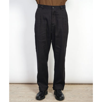 Sune Pleated Wide Cut Trousers Espresso Brown