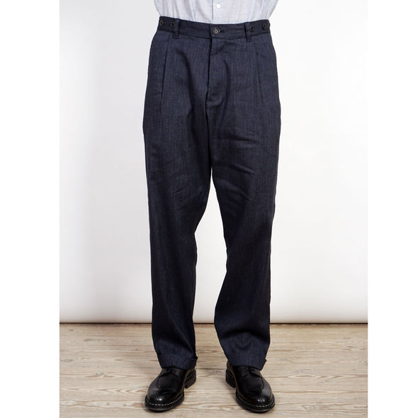 Sune Pleated Wide Cut Trousers Navy Melange