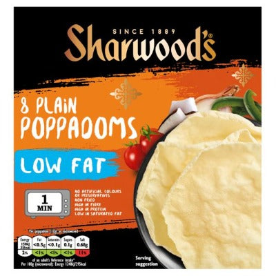 Sharwood's 8 Low Fat Plain Poppadoms 94g