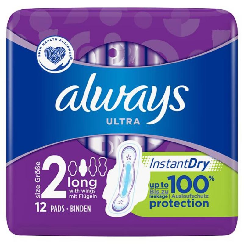 Always Ultra Long (Size 2) Sanitary Towels Wings x12