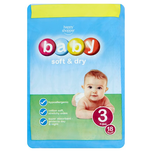 Happy Shopper Nappies Soft & Dry 4-9kg x18