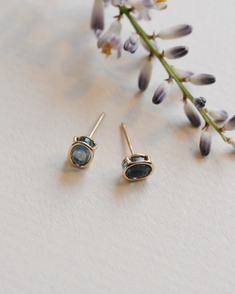 14k Moss Aqua Small Floating Studs