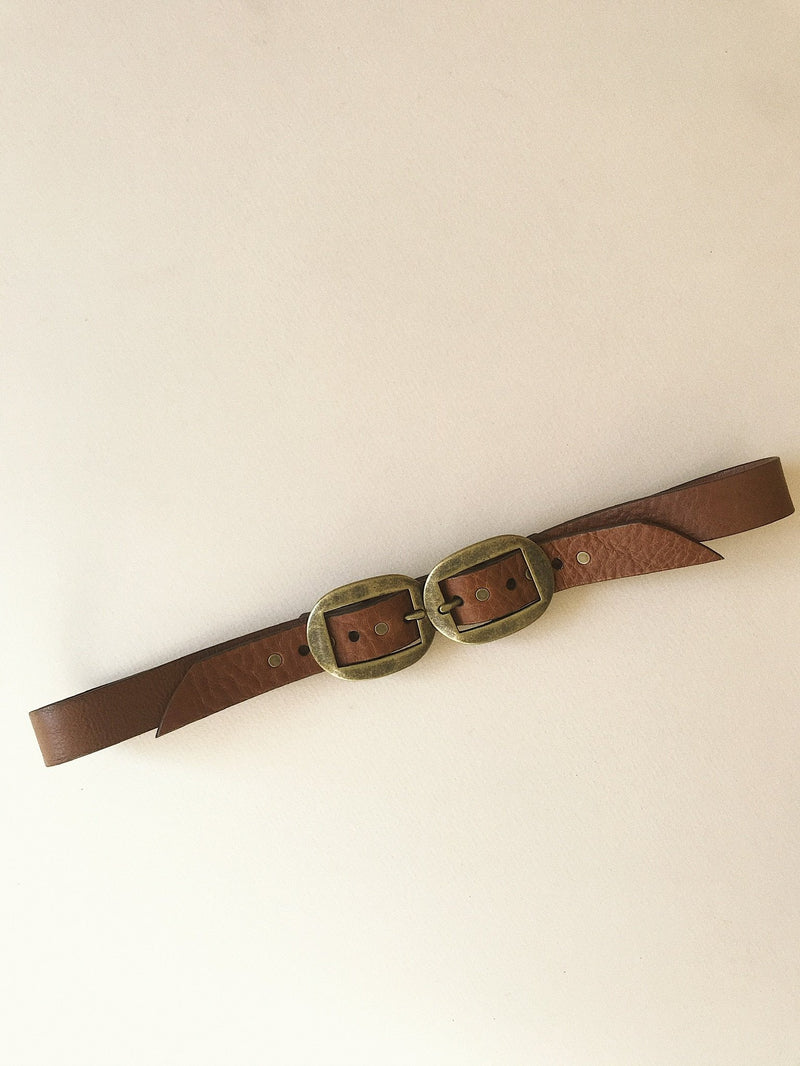 Ovalo Double Buckle Belt / Tobacco