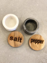 Load image into Gallery viewer, Set of Marble Salt & Pepper Pots w/ Wood Lids