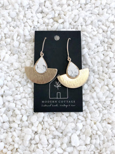 Teardrop Stone and Wedge Earring
