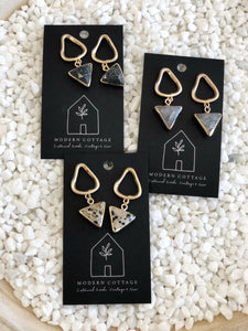 Triangle Stone Dangle Studs