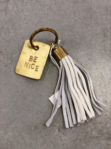 Brass and Leather Tassel Key Chain