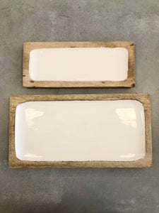 White Enamel & Wood Rectangle Tray