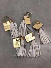 Load image into Gallery viewer, Brass and Leather Tassel Key Chain