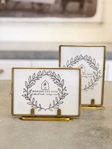 5x7 Brass and Glass Photo Frame on Stand