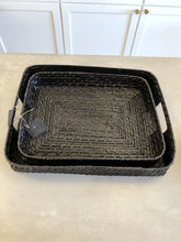 Load image into Gallery viewer, Black Woven Basket Tray