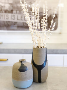 Hand Painted Black and Blue Vase