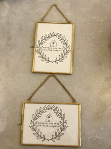 Hanging Brass and Glass Photo Frames