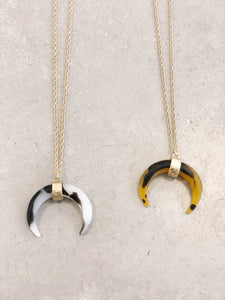 Double Horn Pendant Necklace