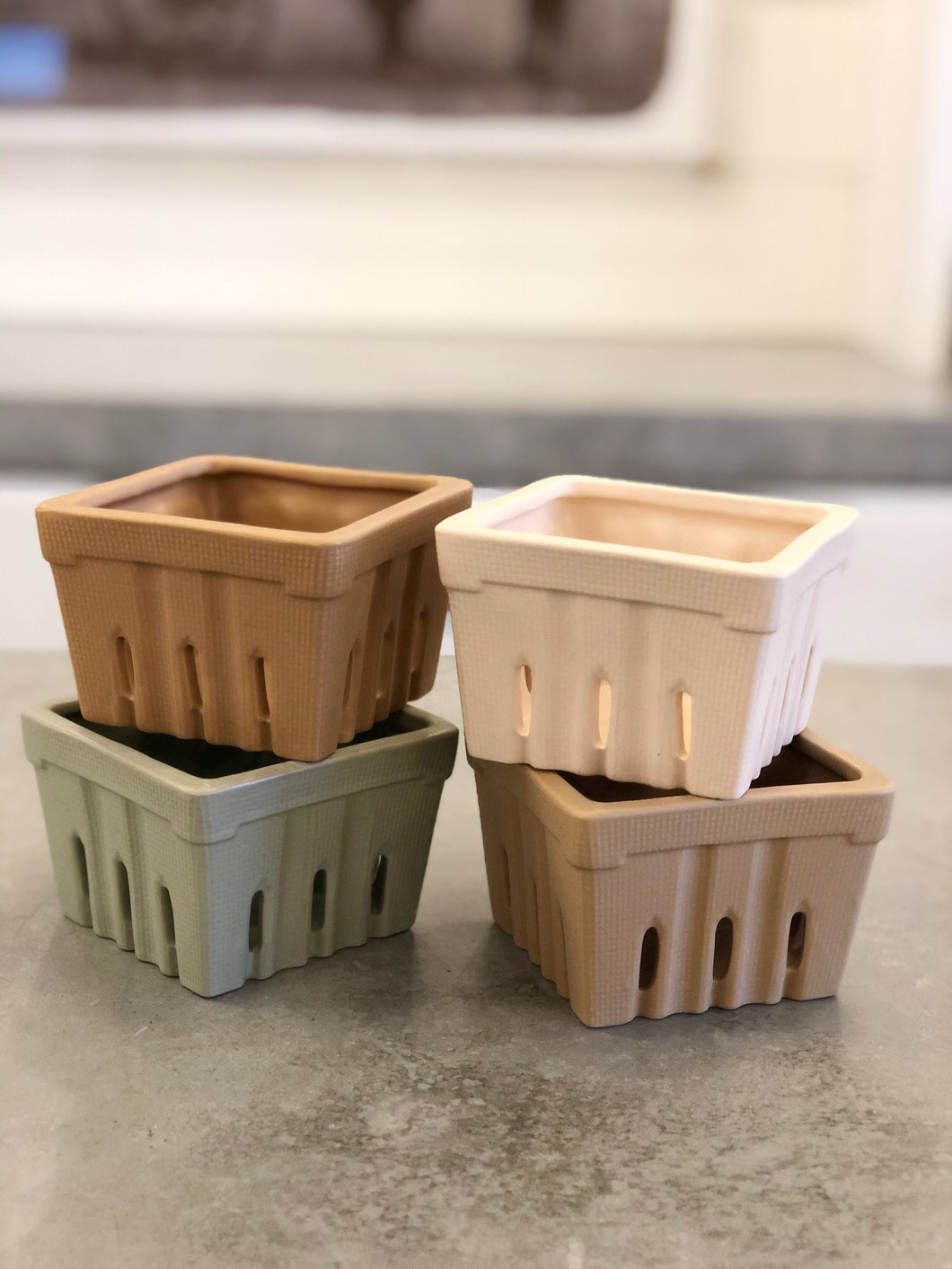 Square Stoneware Berry Bowls