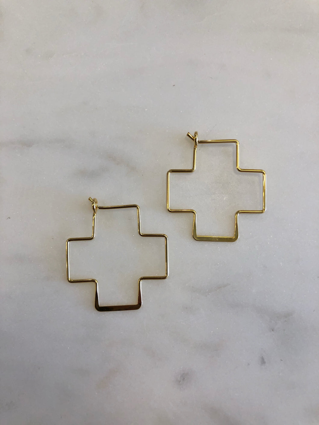14K Gold Cross Hoops
