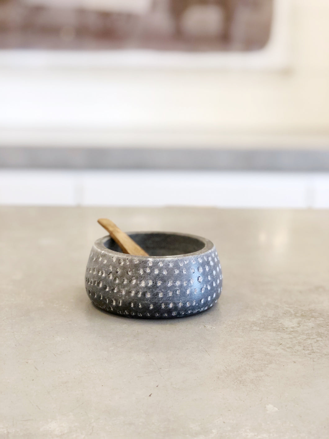 Granite Salt Cellar w/ Wood Spoon