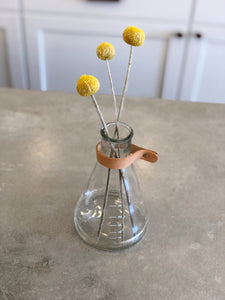 Glass Beaker Vase with Leather strap