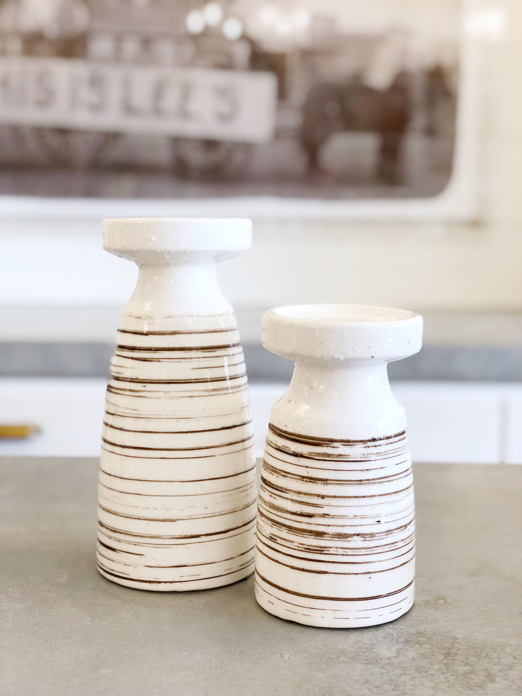 Ceramic Striped Candlestick