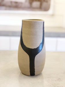 Hand Painted Black Terra Cotta Vase