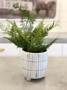Black & White Lined Footed PLanter