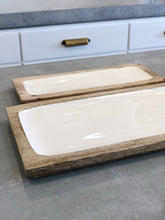 Load image into Gallery viewer, White Enamel & Wood Rectangle Tray