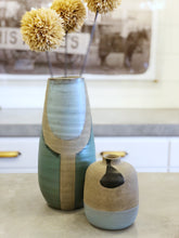 Load image into Gallery viewer, Hand Painted Black and Blue Vase