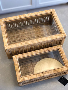 Rattan and Glass Display Boxes