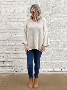 Oatmeal Knitted Boxy Sweater