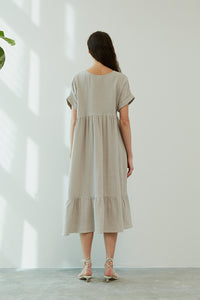 3 colors-Tiered Gauze V-Neck Dress