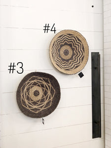 Grey and Natural Abaca Wall Baskets