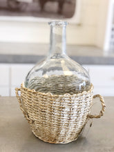Load image into Gallery viewer, Glass Bottle in Whitewashed Basket